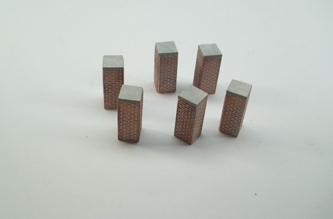 1:76  BRICK WALL COLUMN x 6