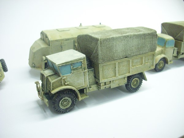 8th Army on the move. My own 1:56 trucks repainted for North Africa.